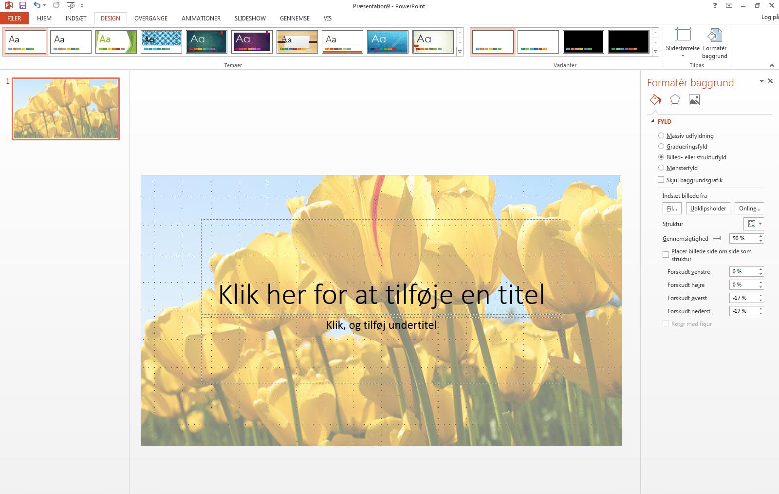 56f4d727 Indsæt baggrundsbillede, farve eller vandmærke i PowerPoint