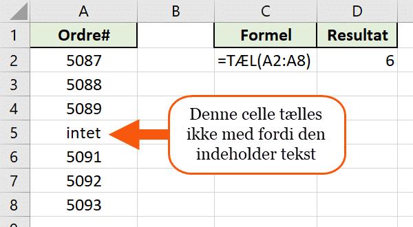 Excel funktion TÆL eksempel