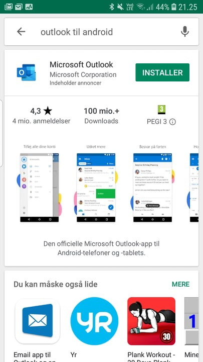 Google play outlook til android
