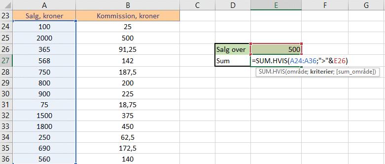 Eksempel 2 - kriterie fra celle - formel
